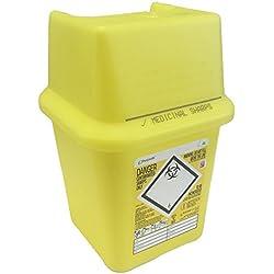 4L Sharpsafe Jaune Bio Hazard Lame Seringue aiguille cliniques étiquetées déchets coupants Boîte Poubelles