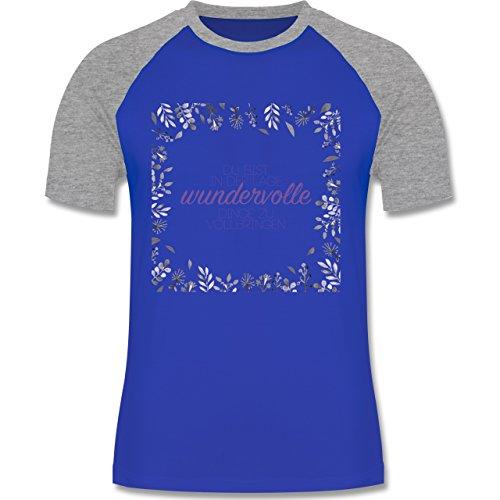 Statement Shirts - Inspirierende Zitate - Du kannst wundervolle Dinge - zweifarbiges Baseballshirt für Männer Royalblau/Grau meliert