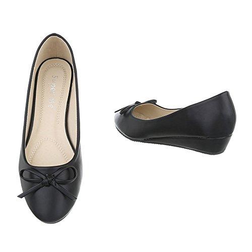 Ital-Design , chaussures compensées femme Schwarz 6267-P