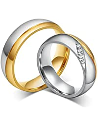 Moneekar Jewels Romantic Wedding Rings For Lover Gold-Color Stainless Steel Couple Rings For Lovers Engagement...