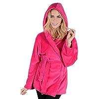 Autumn Faith Ladies Hot Pink Hooded Fleece Mini Short Bath Robe Dressing Gown Wrap - Large