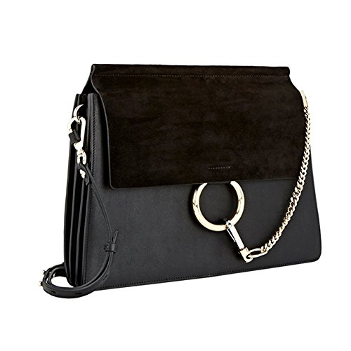 e Leather Crossbody Shoulder Purse Chain Link FY Bag (Black-M) ()