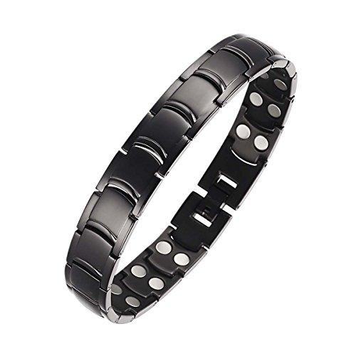 Moocare Herren Schwarz Titan Magnetic Gesundheit Armband für Arthritis Germanium Armband Power Balance Sport Armbänder