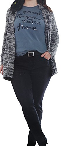 Unbekannt Damen STRETCHHOSE big size normal regular fit Stretch Jeans Five Pocket Hose, Farbe:Schwarz, Größe:52