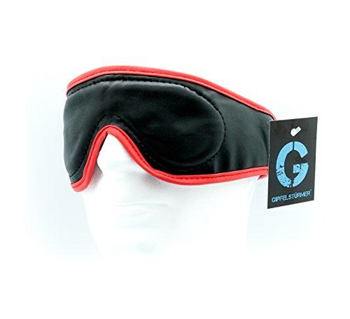 DEVOTION Leder Augenmaske, Augenbinde mit Polsterung, inkl. Klettverschluss, für deine erotischen Fantasien, schwarz rot