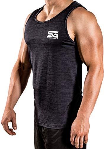 Satire Gym - Herren - Fitness Tank Top Männer - Sport Bekleidung Stringer Gym (schwarz meliert, L) (Adidas Gym Männer)