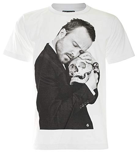 PALLAS Unisex's Aaron Paul Breaking Bad with Skull Tshirt (White, 2XL)