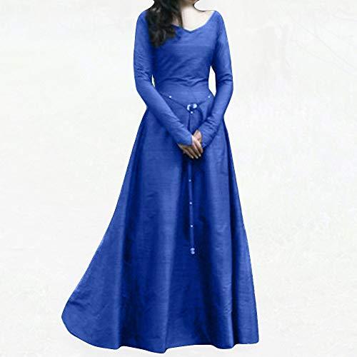 Anne Boleyn Kleid - Huacat Damen Mittelalterkleid Größe Volltonfarbe Retro