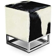 Bauhaus pequeño Dado elegante piel de vaca auténtica piel Asiento Taburete auxiliar taburete reposapiés (37x 37cm asiento altura 45cm. imagen auténtica piel de vaca negro de color blanco