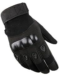 Hombres ciclo al aire libre formación de conducción de la caída de los guantes de invierno lleno ( Color : Negro , Tamaño : L )