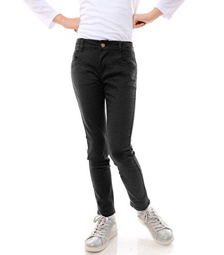GP Creation Mädchen Jeans Stretch Kinder Hose Röhrenjeans Jeanshose Skinny 21743, Farbe:Schwarz, Größe:164 (Schwarze Skinny Jeans Größe 12)