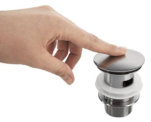 VILSTEIN© Pop-Up Ablauf-ventil Push-Up Ablaufgarnitur für Waschbecken mit Überlauf, Nickel gebürstet