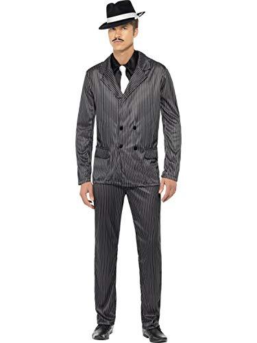 Halloweenia - Herren Männer Nadelstreifen Anzug Gangster Kostüm im 20er Jahre Al Capone Stil mit Jacket, Hose, Hemdfront und Schlips, perfekt für Karneval, Fasching und Fastnacht, L, Schwarz