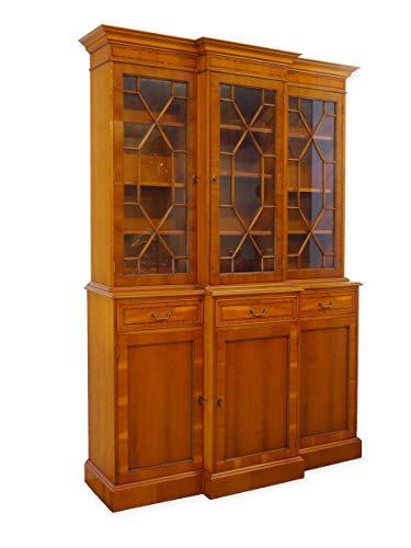 Vitrinenschrank Bücherschrank Buffetschrank Bücherschrank in Eibe im englischen Stil (6108)