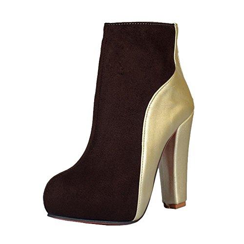 Mee Shoes Damen mehrfarbig high heels Plateau Reißverschluss Stiefel Braun