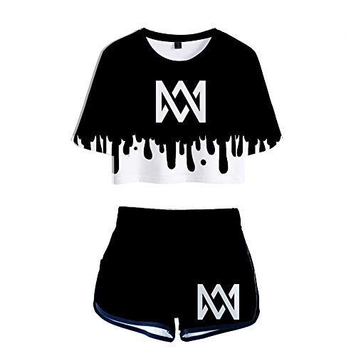 schnitt Kurzarm 3D Digitaldruck Marcus und Martinus MM Sommerkleider Nette 3D Top Kleider ()