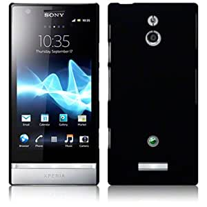Sony Xperia P Hybrid Rubberised Back Cover Case / Shell / Shield - Solid Black Part Of The Qubits Accessories Range