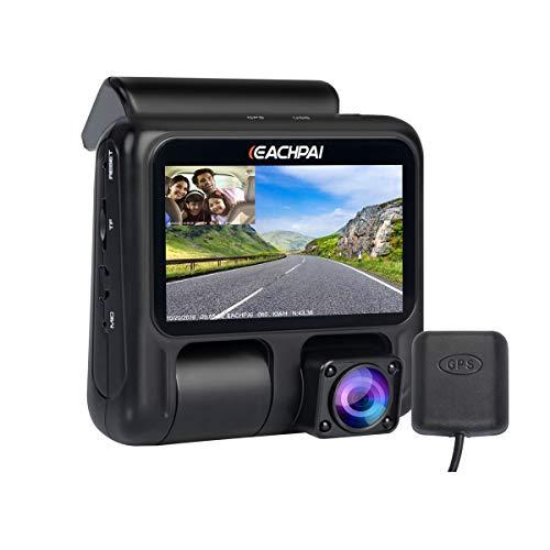 EACHPAI X100 Pro Kompakt Autokamera, Dual Camera Auto Dash Cam mit GPS und 32G SD Karte, FHD 1080P Dashcam Auto Vorne und Hinten mit Nachtsicht, Super Kondensator, G-Sensor, und Loop Aufnahme