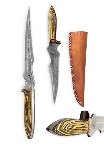 Hobby Hut HH-302, Custom handgefertigt 30.5 cm damast jagdmesser mit lederscheide, Extra Scharf, Entworfen für Jagd, Camping,Micarta Griff (Custom Messer)