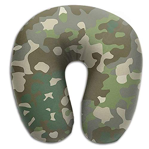 jinhua19 Nackenhörnchen Memory Foam Neck Pillow Camouflage Camo U-Shape Travel Pillow Ergonomic Contoured Design Washable Cover for Airplane Train Car Bus Office Seitenschläferkissen