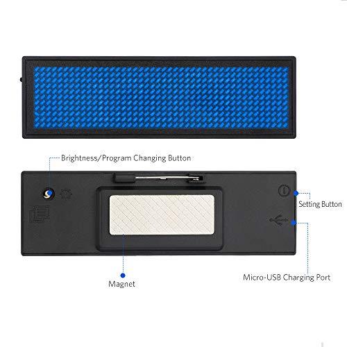 Namensschilder, VADIV LED-Namensschild Digital-Rollbalken Wiederaufladbare Büro Megnetic Leuchtschild, MicroUSB Programmierung Digital Sign 11x44Dots mit Magneten und Stift, freies Laufwerk (Blau)