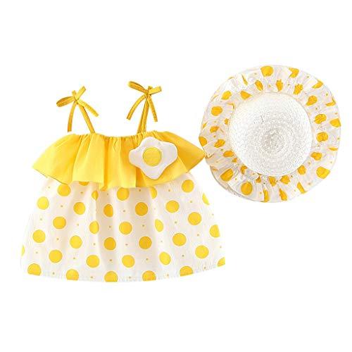 Baby MäDchen Kleid,äRmelloses O-Neck-Kleid Blumenschleife Prinzessin Sommerkleider Kleinkind Taufkleid Festzug Hochzeits Kleidung,Rock + Hut(Gelb,70) ()