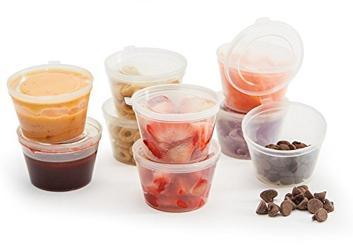 Unzen Klein Rund Kunststoff Tasse (x50Set) + Scharnierdeckel | Mini Behälter für Vegan Snacks, Lebensmittel Teil Kontrolle, Diät, Süßigkeiten, Saucen, Kinder Lunch Box und Speicherung von DIY Bit, schlamm | 50, kaufen 100