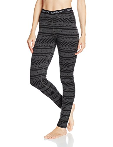 Icebreaker Damen Vertex Leggings Icon Fairisle Funktionshose, Jet Hthr/Black, XL