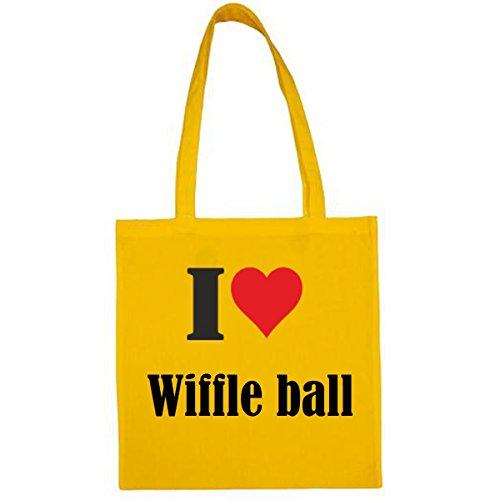 Tasche I Love Wiffle Ball Größe 38x42 Farbe Gelb Druck Schwarz