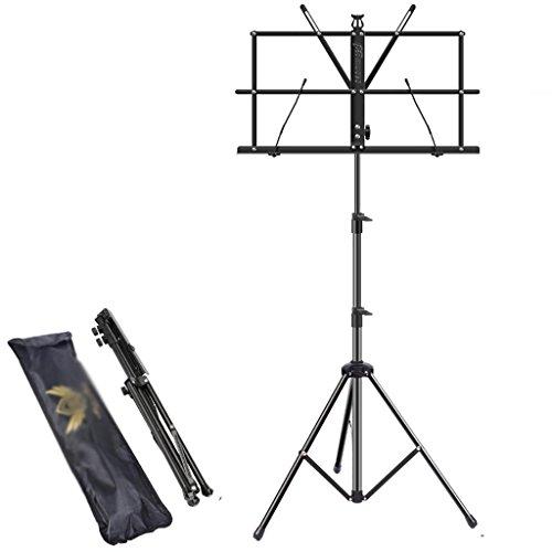 Altezza 66-160cm lettore di spartiti regolabile, portatile, pieghevole, ripiano telescopico con borsa per qualsiasi musicista (colore : black)