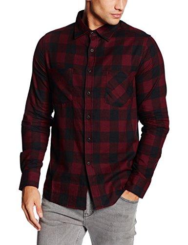 Urban Classics Checked Flanell Shirt-Camicia Uomo    Mehrfarbig (blk/burgundy 651) X-Large