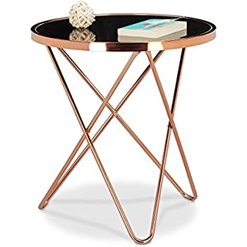 Relaxdays copper side table made of copper and black glass for Table y copper