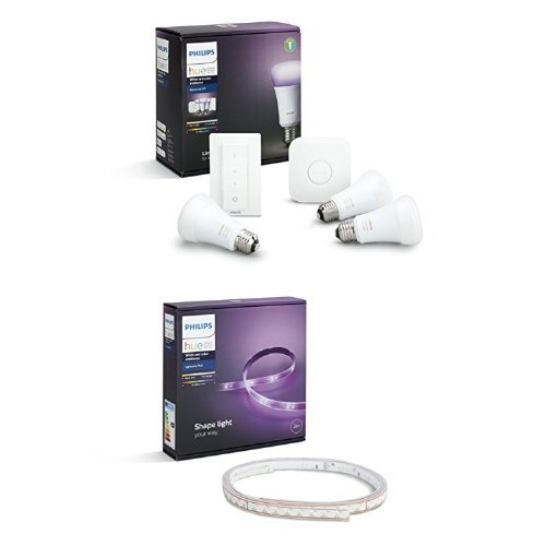 Philips Hue White and Color Ambiance Starter Kit con 3 Lampadine E27, 1 Bridge e 1 Telecomando Dimmer Switch + Hue Lightstrip Striscia LED da 200 cm, Kit Base con Alimentatore, Estendibile fino a 10 m