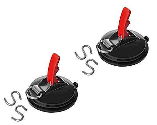 Saugnapf Befestigung max. 10 kg mit Ring + 2 S-Haken (2) -
