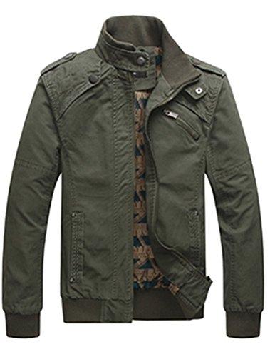 MatchLife Nouveau Jacket Manteau Veste Casual Hommes Style Militaire Classique Printemps-Automne Style1-Vert Arme