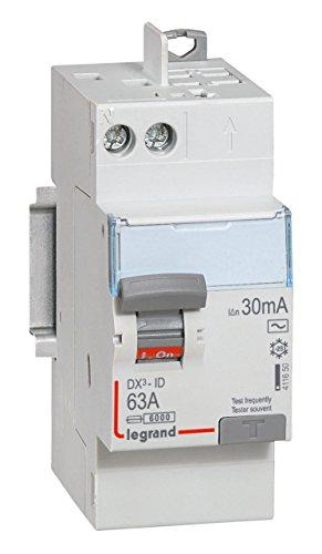 Legrand LEG411650 Interrupteur différentiel dx-id Vis/Auto 2P 230 V 63 A Type AC 30 mA Départ haut...