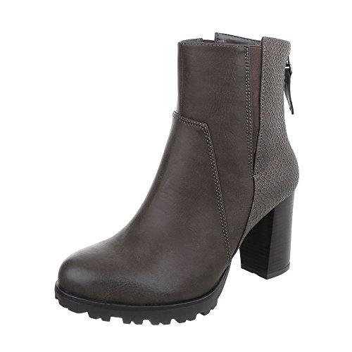 Ital-Design High Heel Stiefeletten Damen-Schuhe Schlupfstiefel Pump Moderne Reißverschluss Stiefeletten Grau, Gr 37, Zy9076-