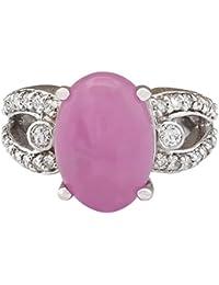 7,25 quilates Natural Jade 14 K oro blanco anillo de diamantes