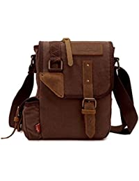 Men's Military Style Canvas Messenger Bag Single Shoulder Satchel Crossbody Bag - Army Green/ Coffee/ Khaki