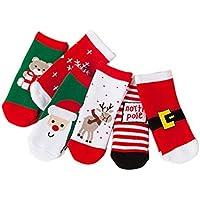 PRETYZOOM 6 Pares de Calcetines Casuales para niños Bebé Navidad Diversión Colorida Impreso Algodón Calcetines de tripulación Cálidos Fiesta de Navidad para 0-1 años de Edad (Calcetines Mixtos)