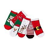 BESTOYARD Calze di Natale Autunno Inverno Calze di Cotone Natalizio Calze per Bambini Piccoli 6 Paia 1-3 Anni (Colori Casuali)