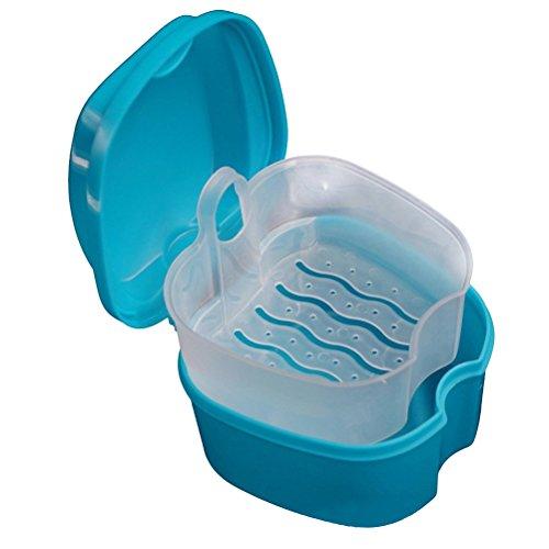 Healifty Zahnersatz Box Dental Retainer Container Brace Zähne Fall Zahnersatz mit Sieb für Zähne (Sky-Blue)