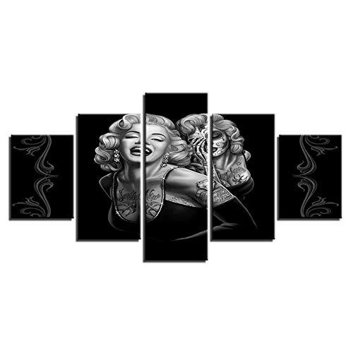 Loadfckcer Wandbild Bilder Marilyn Monroe, fertig gerahmte Bilder 5 Teile Leinwand Bilder Wohnzimmer Wohnung Deko Kunstdrucke,A,L