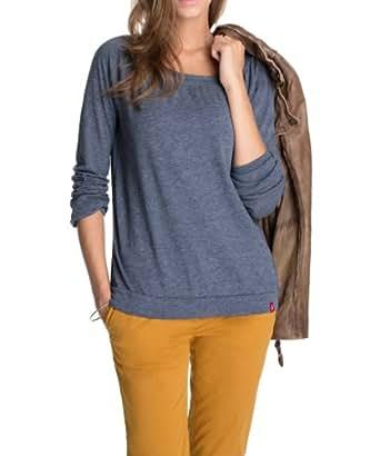 edc by ESPRIT Women's Crew Neck Long - regular Sweatshirt  - Blue - Blau (011 eclipse melange) - 16