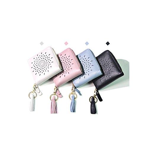 Yvonnelee Grande capacità lusso Portafoglio da donna in pelle borse-Portafogli con portamonete e porta carte di credito e tasca con Pocket Rosa
