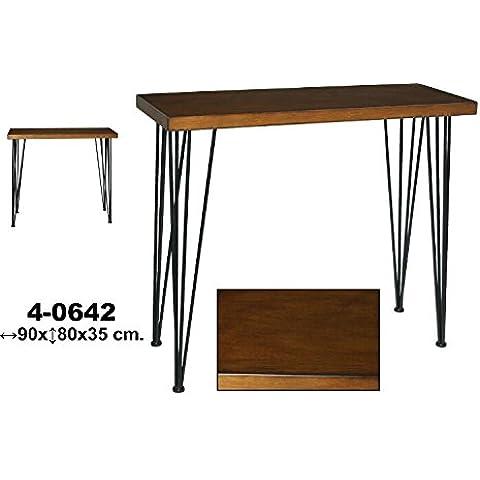 DonRegaloWeb - Mesa de entrada - Consola de madera con patas de metal de estilo moderno - industrial en color caoba