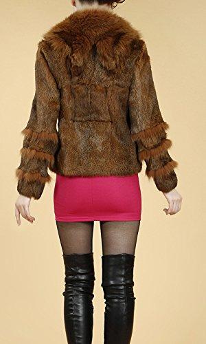 Helan Damen Kurz echtem Kaninchenfell-Mantel mit Big Echtfuchspelzkragen Camel