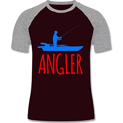 Angeln - Angler Boot - Angelboot - zweifarbiges Baseballshirt für Männer Burgundrot/Grau meliert