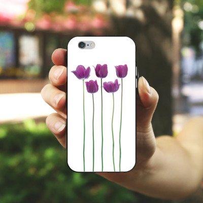 Apple iPhone 4 Housse Étui Silicone Coque Protection Tulipes Lilas Fleurs Housse en silicone noir / blanc