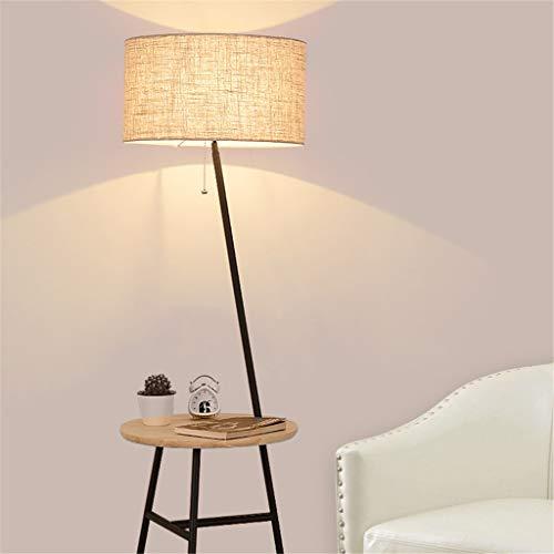 LCYCN Nordische Vertikale Bodenlampen Regale Massive Hölzerne Stoff Stehleuchten Für Wohnzimmer Schlafzimmer Bett Sofa-Tischbeleuchtung Dekor,Black